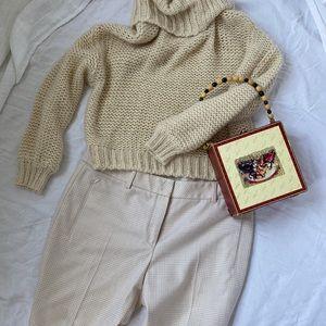 Akris gingham wool pants